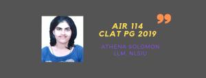 CLAT LLM 2019 INTERVIEW: ATHENA SOLOMON